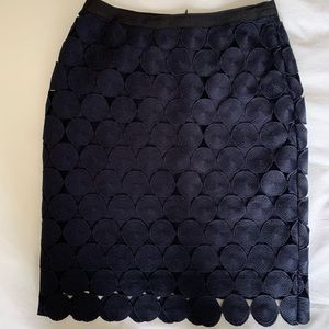 Ann Taylor Navy Lace Pencil Skirt Size 0